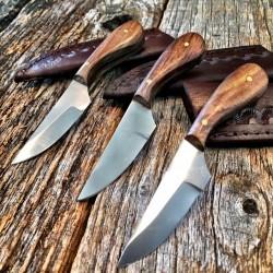 Lot de 3 Couteaux Bushcraft Skinner Lame Acier Inox Manche Bois Etui Cuir PA7991 - Livraison Gratuite