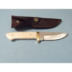 Couteau de Chasse Skinner Bushcraft Lame Acier Inox Manche Os Etui Cuir PA8010 - Livraison Gratuite
