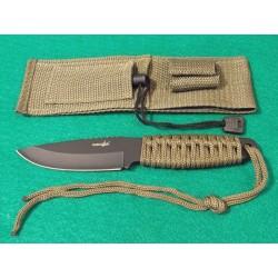 Lot de 3 Couteau de Survie + Allume Feu Acier Carbone/Inox Manche Paracorde Etui Nylon M4007 - Livraison Gratuite