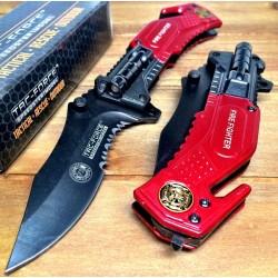 Couteau Tac Force Shériff Led A/O Lame Acier Inox Manche Aluminium + Cutter & Brise Vitres TF874BK - Livraison Gratuite