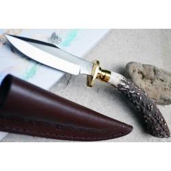 Skinner Couteau de Chasse Hunter Acier Carbone Manche Bois de Cerf Etui Cuir SS7017 - Livraison Gratuite