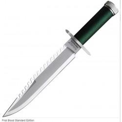 Couteau Rambo I First Blood Standard Edition Acier Inox Manche Paracorde Kit Survie Etui Cuir RB9292 - Livraison Gratuite