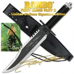 Couteau Rambo II First Blood Part II Signature Edition Acier Inox Manche Kit Survie Etui Cuir RB9295 - Livraison Gratuite