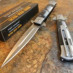 Couteau Stiletto Tac Force Milano A/O Lame Acier Inox Manche Abs Décor Skull TF598P - Livraison Gratuite