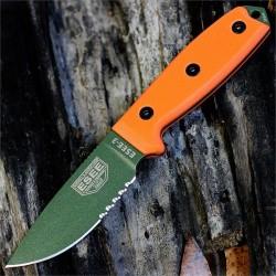 Couteau ESEE Model 3 Acier Carbone 1095 Manche Orange G-10 Made USA NO SHEATH ES3SKOOD - Livraison Gratuite