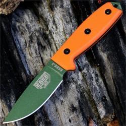 Couteau ESEE Model 3 Acier Carbone 1095 Manche Orange G-10 Made USA NO SHEATH ES3PKOOD - Livraison Gratuite