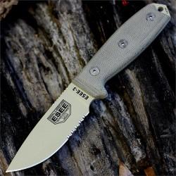 Couteau ESEE Model 3 Acier Carbone 1095 Tan Blade Manche Micarta Made USA NO SHEATH ES3SKODT - Livraison Gratuite
