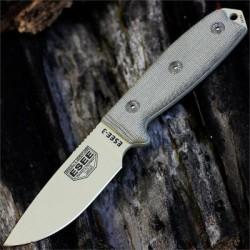 Couteau ESEE Model 3 Acier Carbone 1095 Tan Blade Manche Micarta Made USA NO SHEATH ES3PKODT - Livraison Gratuite