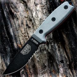 Couteau ESEE Model 3 Acier Carbone 1095 Combo Edge Made USA Etui + Molle + Clip  ES3SBMB - Livraison Gratuite