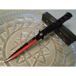Lot de Couteaux 3 Couteaux Mtech Stiletto A/O Red Lame Acier 440 Manche Alu Linerlock MTA317RD - Livraison Gratuite