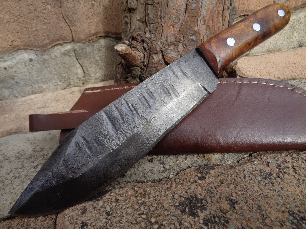 Grand Bowie Couteau de Survie Lame Forgée Au Marteau