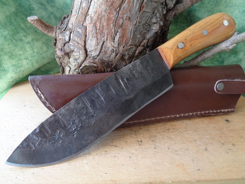 Grand Bushcraft Couteau De Chasse Lame Forgée à la Main