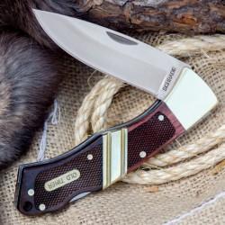Couteau Schrade Old Timer Mountain Beaver Sr Acier 9Cr17MoV Manche Bois Etui Cuir Lockback SCH29OT - Livraison Gratuite