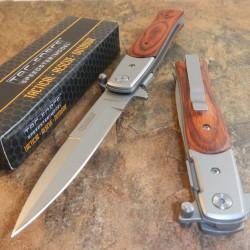 Lot de Couteaux 3 Stiletto Tac Folder A/O Lame Acier Carbone/Inox Manche Bois TF428W - Livraison Gratuite