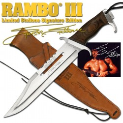 Couteau RAMBO III Signature Poignard RAMBO III Licence Officielle Etui Cuir RB9297 - Livraison Gratuite