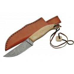 Couteau Skinner Damas Lame 256 Couches Manche Os Etui Cuir DM1071 - Livraison Gratuite