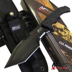 Couteau de Combat Mtech Trakker Tanto Lame Acier 440C Manche Black G-10 Etui Molle MTX8144 - Livraison Gratuite