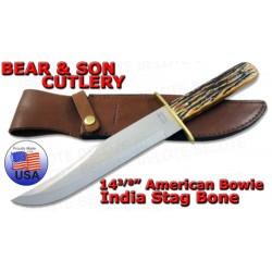 Couteau Bowie Bear & Son Lame Acier Carbone Manche Bois de Cerf Etui Cuir Made In USA BC502 - Livraison Gratuite
