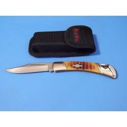 Couteau de Chasse Lame Acier 440 Manche Os Etui Nylon RR066 - Livraison Gratuite