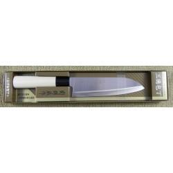 Couteau de Cuisine Japonais Santoku Lame Acier Carbone/Inox Manche Bois Made Japan DCIHH01 - Livraison Gratuite
