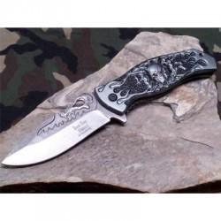 Couteau Dark Side A/O Tête de Mort Lame Acier Inox Manche Aluminium DSA024GY - Livraison Gratuite