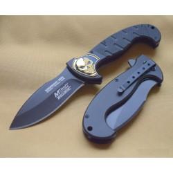 Couteau Tactical MTech Midnight Ops A/O Lame Acier Inox Manche FRN Gold skull MTA876BK - Livraison Gratuite