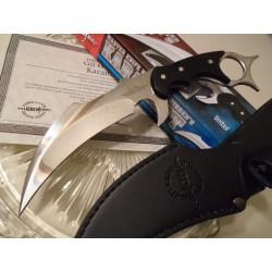 Couteau Karambit Gil Hibben Silver Chrome Lame Acier 5Cr15 Manche Micarta Etui Cuir GH5054 - Livraison Gratuite
