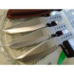 Lot de 3 Couteaux de Lancer Hibben Large Triple Thrower Tanto Lame Acier Inox Cible + Etui Cuir GH5003 - Livraison Gratuite