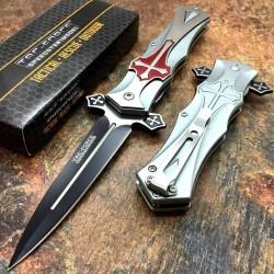 Couteau Tac Force A/O Gothique Celtic Cross Lame Acier 440 Manche Alu Red TF817RD - Livraison Gratuite