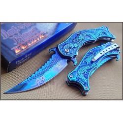 Couteau Dark Side Dragon A/O Lame Acier Inox Blue Titane Manche Acier Décor Dragon DSA019BL - Livraison Gratuite