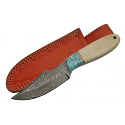 Couteau Damas Lame 256 Couches Manche Os/Turquoise Etui Cuir DM1148 - Livraison Gratuite