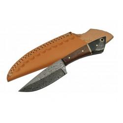 Couteau Damas Skinner Lame Acier 256 Couches Manche Walnut/Horn Etui Cuir DM1123HN - Livraison Gratuite