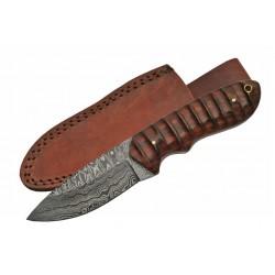 Couteau Damas Hunter Grooved Rosewood Lame Acier 256 Etui Cuir DM1141 - Livraison Gratuite