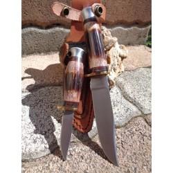 Set de 2 Couteau Frost Cutlery Chipaway Set Red Bone Acier 3Cr13 Manche Os Etui Cuir FCW988RTB - Livraison Gratuite