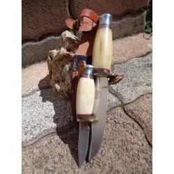 Set de 2 Couteau Frost Cutlery Chipaway Set White Bone Acier 3Cr13 Manche Os Etui Cuir FCW988WSB - Livraison Gratuite