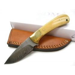 Skinner Couteau Damas Lame 256 Couches Manche Os Etui Cuir DM1129 - Livraison Gratuite