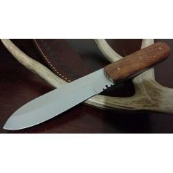 Couteau Bushcraft Classic Patch Knife Lame Acier Carbone Manche Bois Etui Cuir PA7988 - Livraison Gratuite