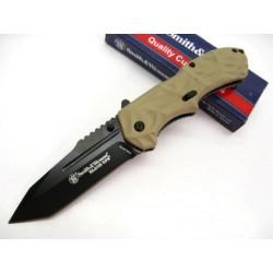 Couteau Automatique Smith&Wesson Tanto Black Ops Acier 4034 Manche Alu Desert Tan SWBLOP3TD - Livraison Gratuite