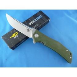 Couteau Bestech Knives Scimitar Lame Acier D2 Manche Green G-10 Linerlock BTKG05B1 - Livraison Gratuite