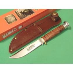 Couteau de Chasse Camp Marbles Lame Acier Carbone Manche Cuir Etui Cuir MR302 - Livraison Gratuite
