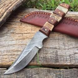 Couteau Damas Lame 256 Couches Manche Bois & Cerf Etui Cuir DM1109 - Livraison Gratuite