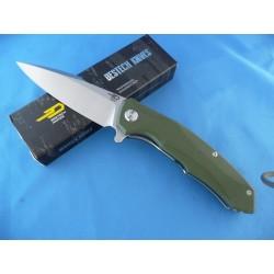Couteau Bestech Knives Warwolf Lame Acier D2 Manche OD Green G-10 Linerlock BTKG04B - Livraison Gratuite