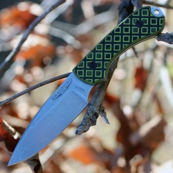 Couteau Bradford Knives Guardian3 Toxic Green / Black G-10 Lame N690 Etui Cuir Made USA BRAD3FE010 - Livraison Gratuite