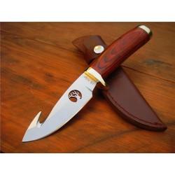 Couteau Elk Ridge Guthook Hunter Lame Acier Carbone/Inox Guthook Manche Bois ER049 - Livraison Gratuite