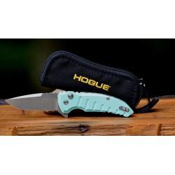 Couteau Hogue X1 Micro Aqua Blue Lame Acier 154CM Manche Aluminium Button Lock Clip Made USA HO24173 - Livraison Gratuite