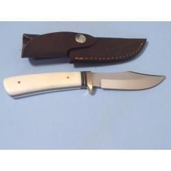 Couteau de Chasse Rando Lame Acier Inox Manche Os Etui Cuir PA8013 - Livraison Gratuite