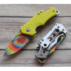 Lot de 2 Couteau Mtech Multicolore Arc En Ciel A/O Manche GFN Yellow Ouvre Bouteilles MTA882TYL - Livraison Gratuite