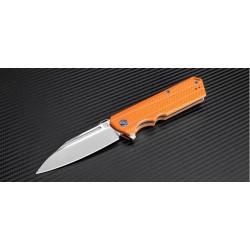 Couteau Artisan Littoral Lame Acier D2 Manche Orange G-10 Linerlock Clip Pivot Céramique ATZ1703POE - Livraison Gratuite