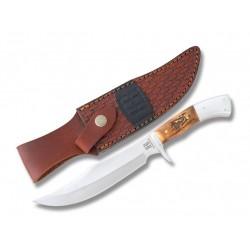 Couteau de Chasse Rough Rider Medium Hunter Lame Acier Inox Manche Bois de Cerf Etui Cuir RR1940 - Livraison Gratuite