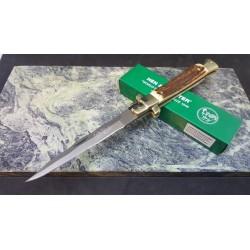 Couteau Damas Kris EDC Hen & Rooster Lame 128 Couches Manche Bois de Cerf Lockback HR5081DSD - Livraison Gratuite